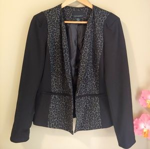 Cynthia Rowley Black Leopard Blazer size Large